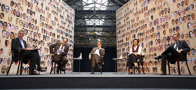 RhurTriannale 2008 - Tarik Al-Wazir, Mustafa Yeneroglu, Heinrich Wefing, Necla Kelek und Thomas Kufen (v.l.n.r.) - © Michael Kneffel