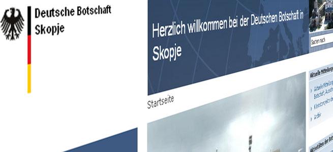 Internet-Startseite der Deutschen Botschaft in Skopje